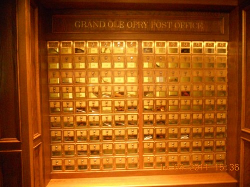 Grand Ole Opry Post Office, lots of pigeon hole boxes where artists receive their fan mail.