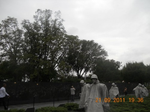 19 huge stainless steel statues depicting a squad of soldiers on patrol, at the Korean War Veterans Memorial.