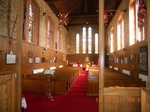View down the aisle with pews on either side, Christ Church Cathedral.