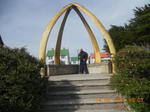 Tony under a whalebone arch beside Christ Church Cathedral.