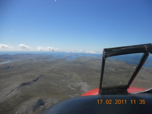 View over East Island, Falkland Islands, taken from the air taxi plane.