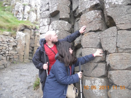 Another picture of Tony and Tatiana touching the rock columns.