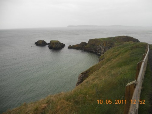 Looking down at tiny Carrick Island protruding into the Irish Sea.