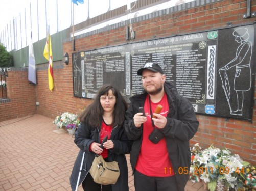 Tony, Tatiana at the Clonard Martyrs Memorial Garden, dedicated, according to the plaque, to 'Civilians murdered by Loyalist and British forces during the course of the conflict'.