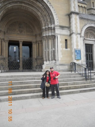 Tony, Tatiana outside the main entrance to St. Anne's Cathedral. Located in Belfast city centre.
