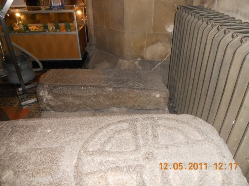 Two old grave stones inside the cathedral, possibly Jonathan Swift's and one of his female friends!