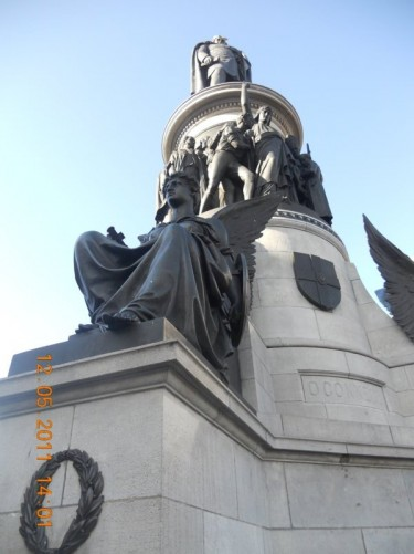 The O'Connell Monument, a memorial to Daniel O'Connell by sculptor John Henry Foley, located at the south entrance of O'Connell Street, facing O'Connell Bridge.