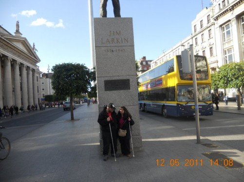 Tony, Tatiana in front of the Jim Larkin Statue, O'Connell Street.