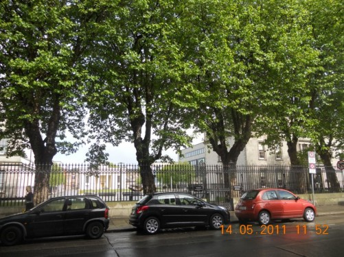 View towards railings outside Tyrone House, on Marlborough Street, opposite St Mary's Pro-Cathedral.