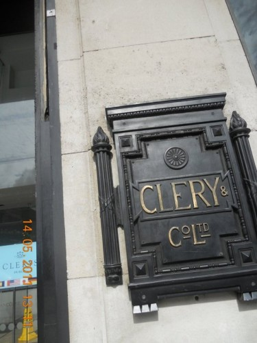 'Clery and Co Ltd' sign. Clery's is a long established department store on the east side of O'Connell Street, close to the southern end.