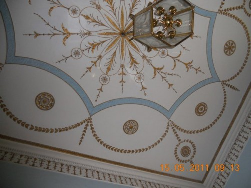 Painted ceiling inside the Gallery of the Writers room on the museum's upper level.