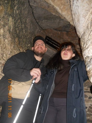 Tony, Tatiana on the spiral staircase, containing 127 stone steps, up to the castle's battlements.