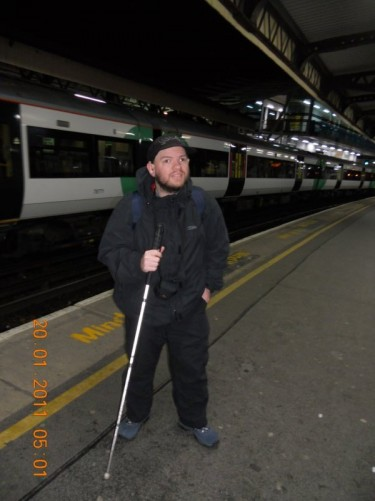 Tony on the platform of Clapham Junction train station, UK, about to head to Heathrow to fly to Argentina.