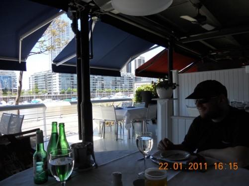Tony at 'Happening' restaurant in Puerto Madero, on the banks of the Rio de la Platta, one of the city's trendiest neighbourhoods.