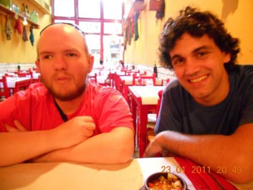 Tony and Rodrigo at a different restaurant.
