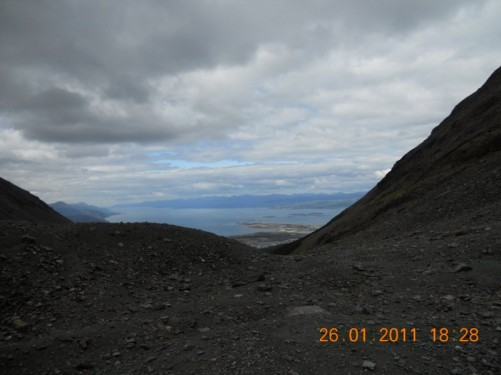 Another view down the mountain towards the Beagle Channel.