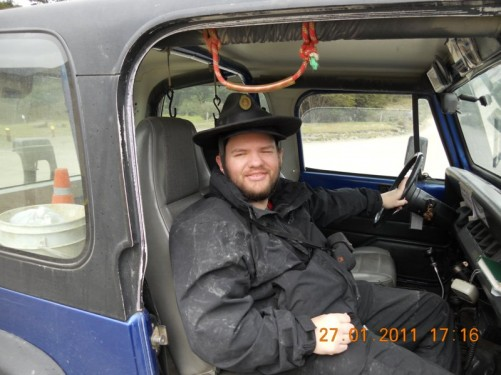 Tony sat in a park ranger's 4 x 4 vehicle, given a lift after getting lost on one of Tierra del Fuego National Park's many trails!