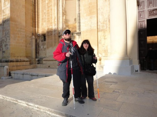 Tony and Tatiana outside St John's Co-Cathedral.