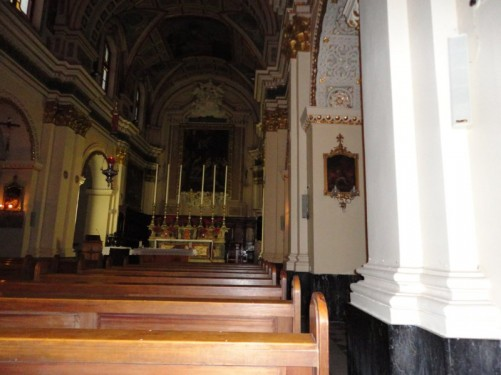 Inside the small church of St Mary of Jesus. It is a Franciscan church built in the early 1570s. It is situated at the junction of St John's and St Ursula streets.