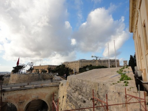 Some of the fortifications around the perimeter of Valletta.