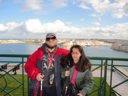 Tony and Tatiana with a backdrop of the Grand Harbour behind.