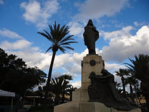 Christ the King Monument, Floriana. Floriana is an urban area immediately outside Valletta's city walls.