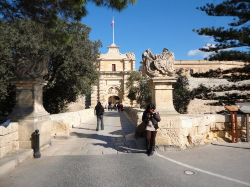 Looking towards the Main Gate leading into Mdina. It dates from 1724.