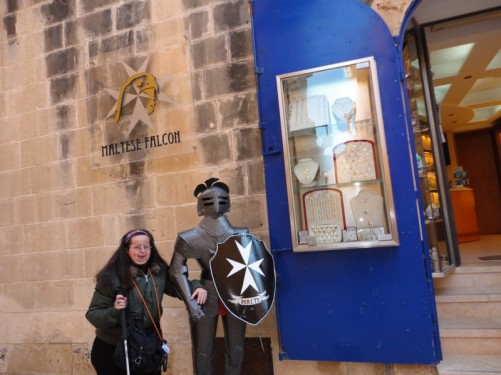 Tatiana by a suit of armour outside the Maltese Falcon shop.