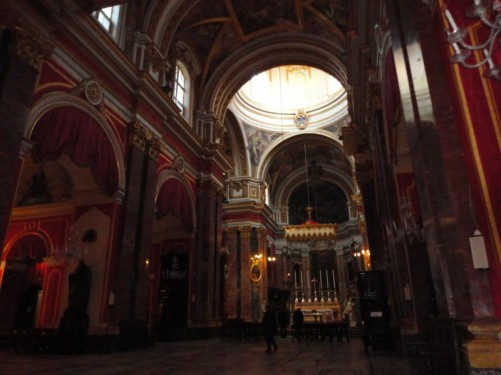 The interior of the cathedral looking towards the main altar.
