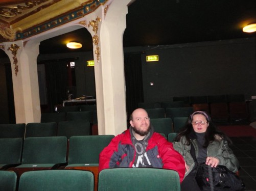 Inside the Manoel Theatre. Tony and Tatiana resting in chairs.