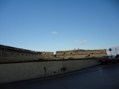 View of Fort St Elmo, which is located at the tip of the peninsula that Valletta is built on.