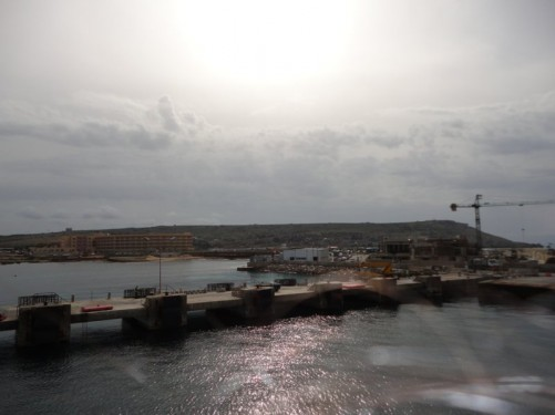 Ferry arriving at the Cirkewwa ferry terminal on the north-west point of Malta.