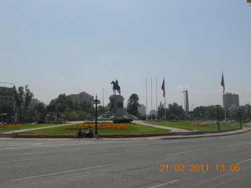 Monument to General Manuel Baquedano (January 1, 1823 - September 30, 1897 - aged 74). Located in Plaza Italia. The monument is topped by a cast of General Baquedano sat on horse back.