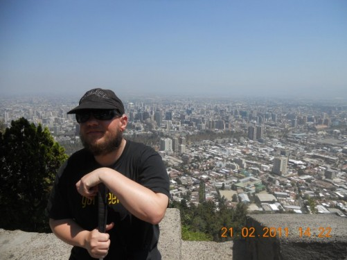 Tony with a great view of across Santiago.