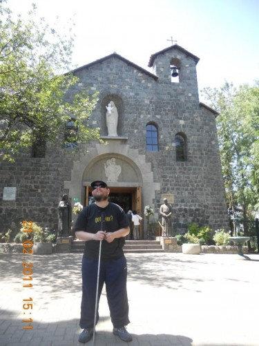 "Tony outside the chapel ""La Maternidad de Maria""."