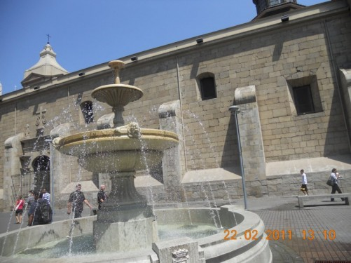 A fountain outside Santo Domingo church.