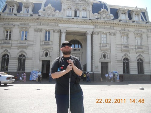 Tony in front of Correo Central – Central Post Office - on Calle Rosas, north side of Plaza de Armas.