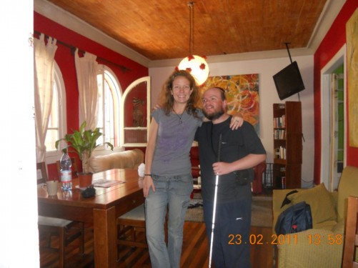 Tony and Anna, a fellow traveller from the US, taken in the main lounge of the Don Santiago Hostel.