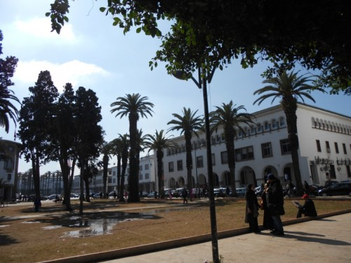Looking across a small park towards the tree-lined south end of Boulevard Mohammed V.