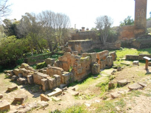 Remains of Roman buildings.