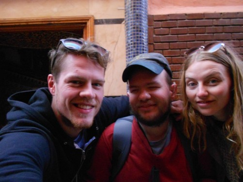 Tony with two tall backpackers from Iceland, met them on the train from Rabat.
