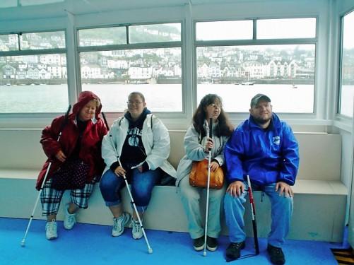 Lora, Angela, Tatiana, Tony on the boat.