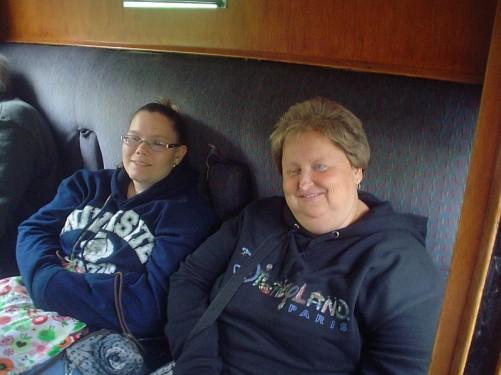 Angela and Lora on-board the stream train.