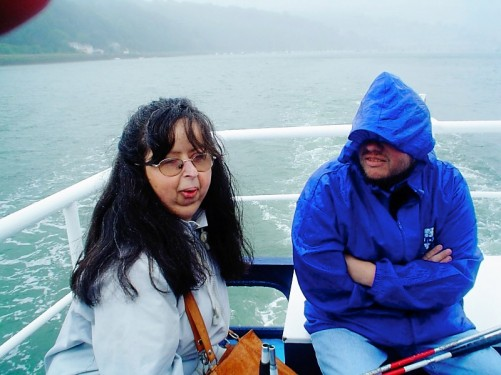 Tony and Tatiana on a cruise on the River Dart up to Totnes. View of the river.