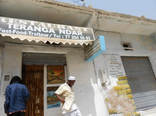 Outside Restaurant Teranga Ndar. Tony ate in here during his two days in the town.
