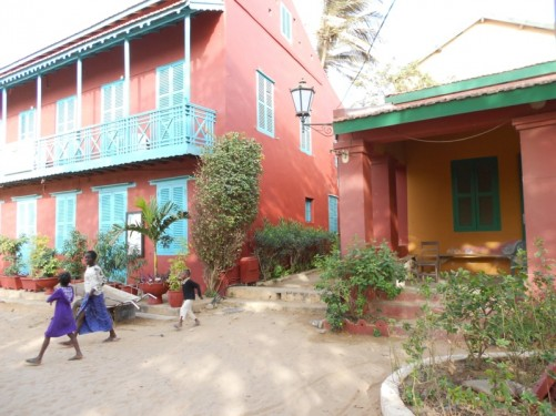 Colourfully painted colonial era buildings in Gorée.