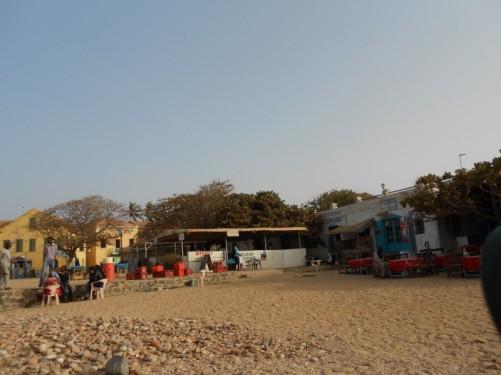 A café on the beach by the harbour.