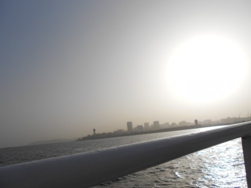 A hazy view of Dakar from the boat.