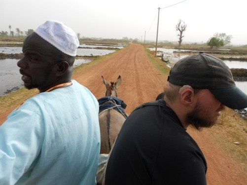 View along the road from the cart. Waterlogged fields on both sides.