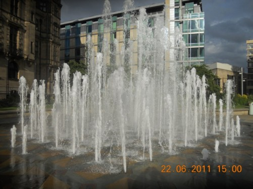 The Peace Fountain in the Peace Gardens.